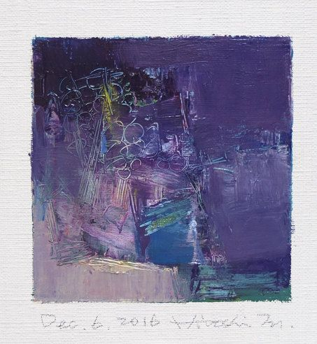 Original Abstract Oil Painting by Hiroshi Matsumoto  Title: Dec. 6, 2016 Size: 9.0 cm x 9.0 cm (app. 4 x 4) Canvas size: 14.0 cm x 14.0 cm (app. 5.5 x 5.5) Media: Oil on canvas Year: 2016  This is my everyday ...