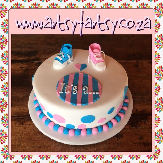 Gender Reveal Baby Shower Cake #genderrevealbabyshowercake #babyshowercake