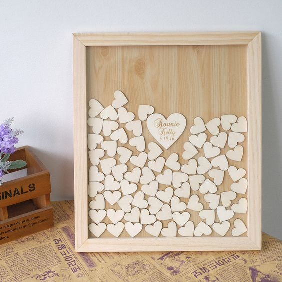 Personalized Wooden Hearts Wedding Guest Book