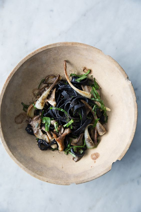 Gluten-free squid ink pasta with ramps and mushrooms Cannelle et