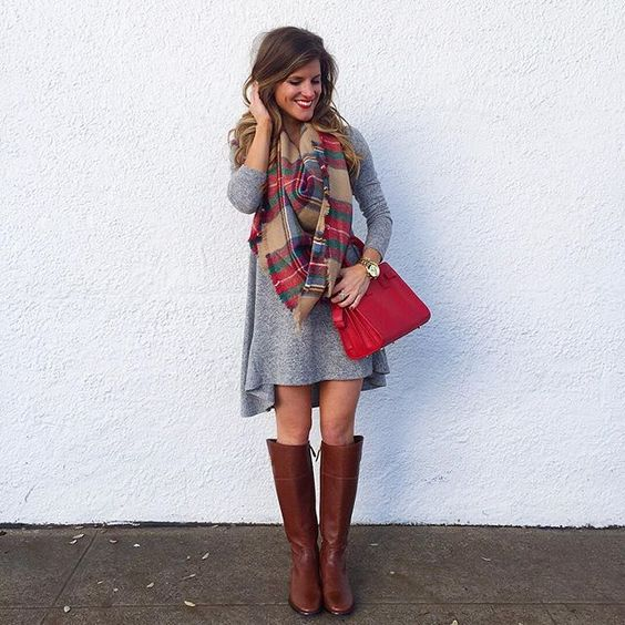 @brightonkeller // BrightonTheDay Blog // swing dress outfit // blanket scarf outfit ideas // riding boots and dress outfit: