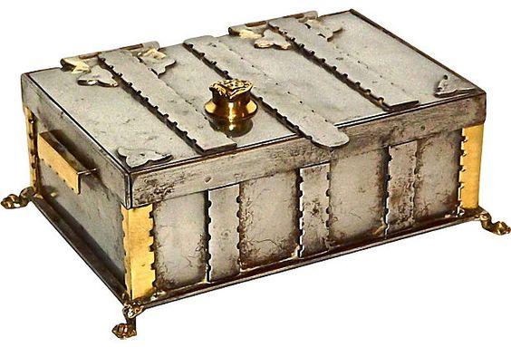 18th-C. Neo-Gothic Steel Box