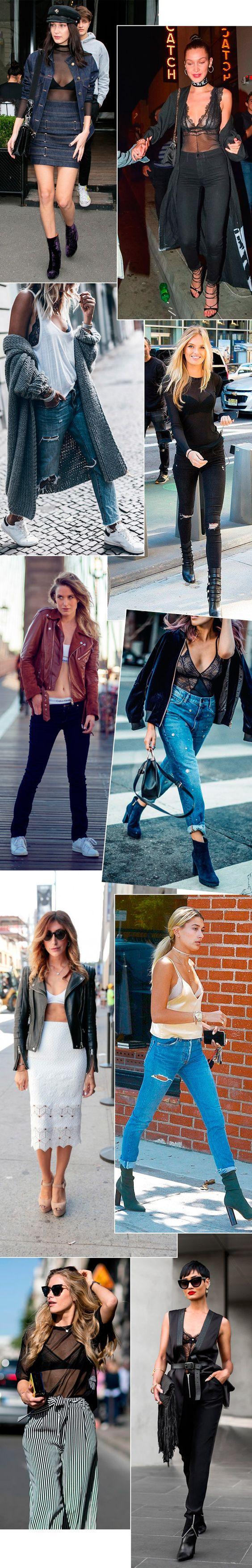 Street style look com lingerie aparente.:
