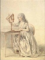 étienne charles leguay (1762-1846)  A young lady seated at a table looking through a zogroscope Chalk 39,5 x 30,4 cm (15,6 x 12 in) Christie's NY