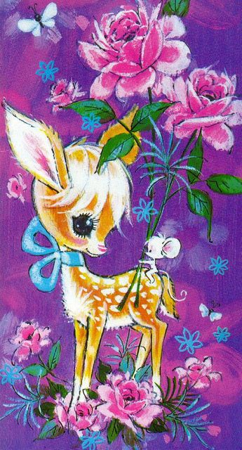 1970s Greeting Card - Deer and Mouse    Printed message inside reads: Good Bye and Good Luck.    An Image Arts of England card, from Regal Henderson Australia.