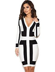Women's+Black+and+White+Graphic+Print+Bandage+D...+–+USD+$+77.99
