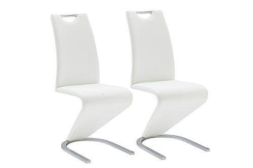 Robas Lund Chaise Chaise Pied Luge Chaise Salle A Manger Amado Imitation Cuir Lot De 2 Chaises Environ 62 X 45 X 102 Cm Blanc En 2020 Chaise Salle A Manger Luge Chaise