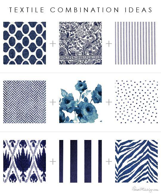 Textile, pattern and print combinations: florals, stripes, ikat, floral, geometric, herringbone, dots, animal prints ...