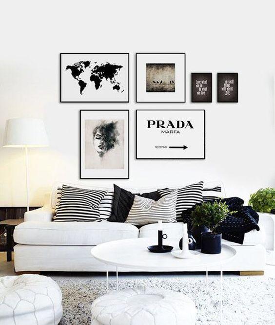 Living Room Decor Black And White Aesthetic Interiordesign Decor Home Black White Gray Beaut Modern White Living Room Black And White Living Room White Decor