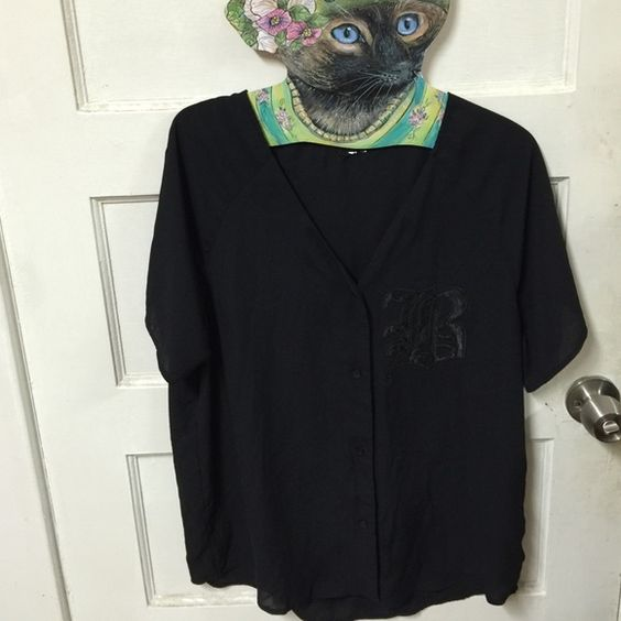 Sheer Black Baseball Button Down Blouse GUC, either from Forever 21 or H&M (I chopped off the tag because it's itchy, that's why I not quite remember which one it's from) Tops Blouses