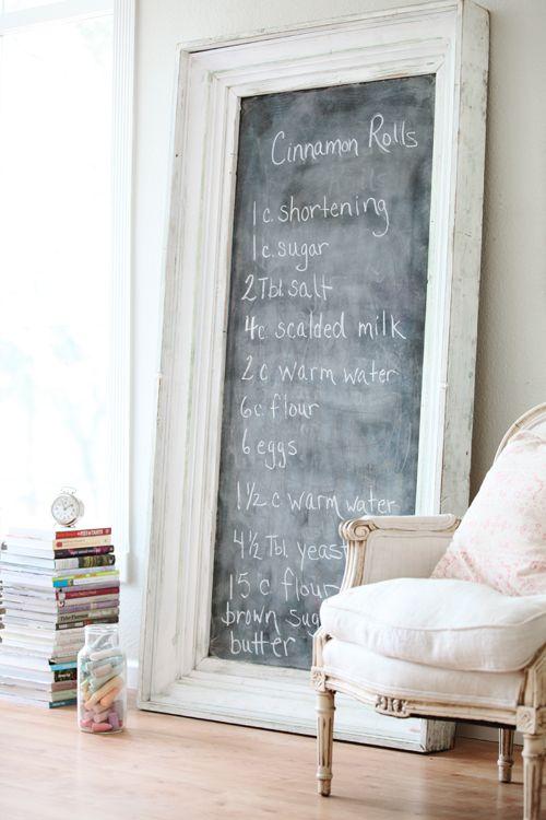 Huge framed chalkboard with cinnamon roll recipe in #Frenchfarmhouse by Dreamywhites
