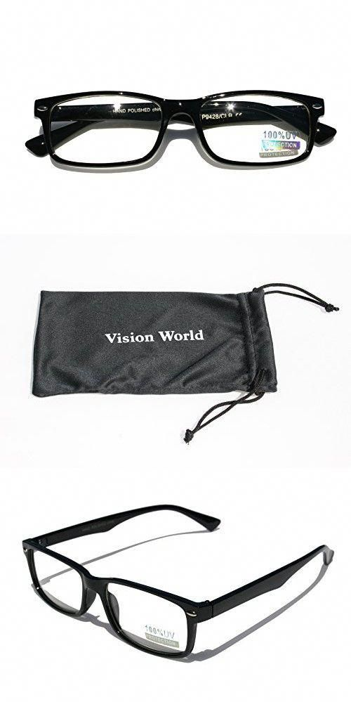 fa8ff2a744b Casual Fashion Horned Rim Rectangular Frame Clear Lens Eye Glasses (Black)   casualfashion