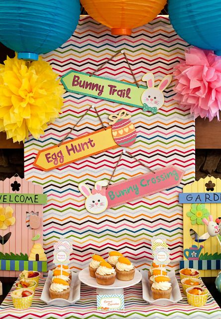 Fun backdrop at an Easter Party #easter #partybackdrop: