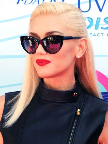 Famous Singer Gwen Stefani From her Famous No Doubt Band with her Fake Miley Cyrus-Style undercut hairdo.