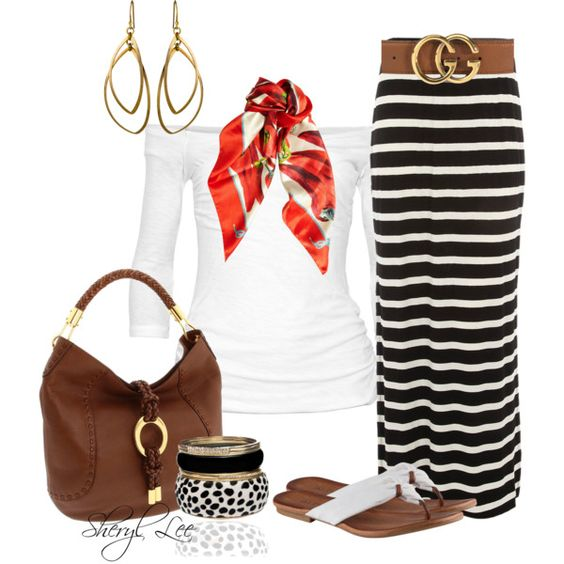Stripped maxi skirt...cute outfit!