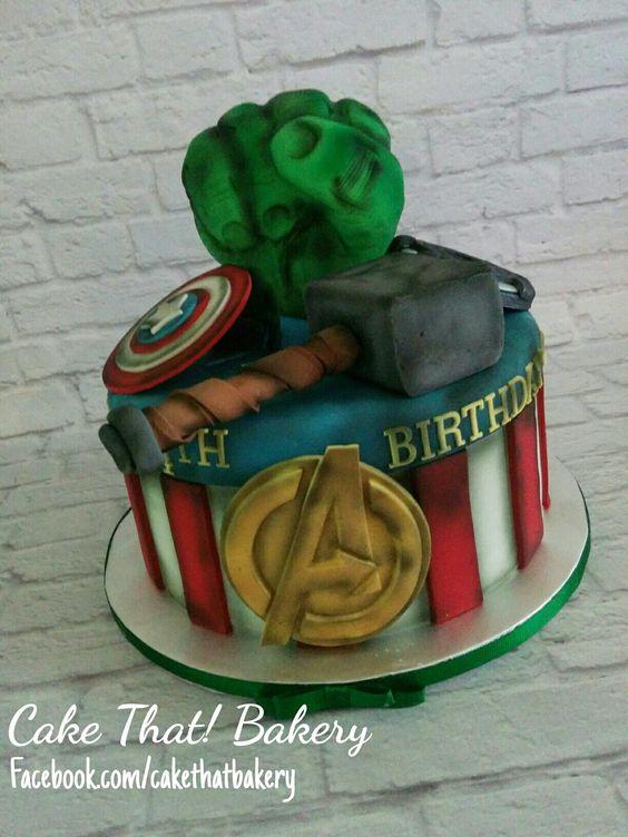 Aged Avengers Hulk fist cake