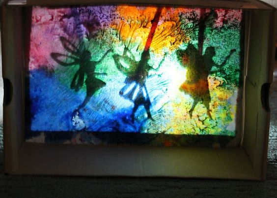 wax resist painting as a backdrop for shadow play (from Inspiration Surrounds ... Creativity Abounds)