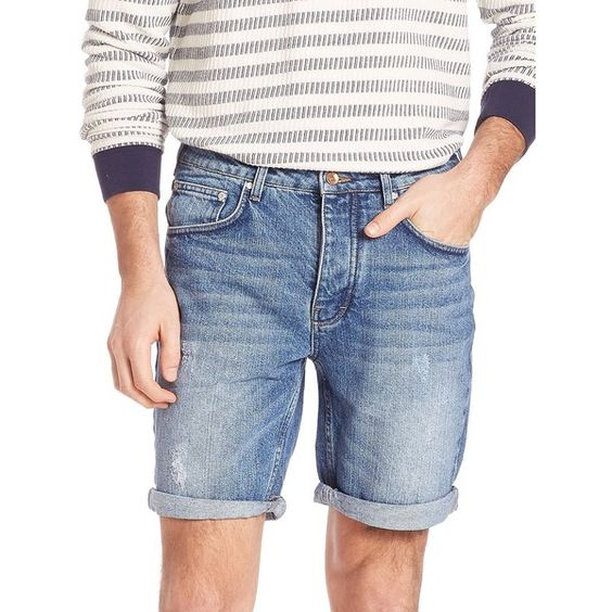 WeSC Conway Denim Shorts ($31) ❤ liked on Polyvore featuring men's fashion, men's clothing, men's shorts, apparel & accessories, lightly distressed, mens jean shorts, mens cotton shorts and mens denim shorts