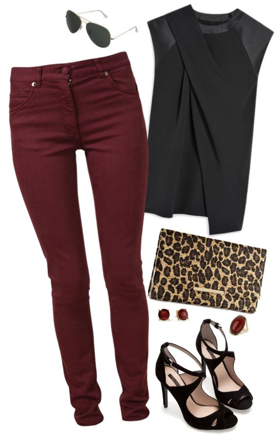"""""""Maroon Jeans"""" by misstinamaria on Polyvore"""