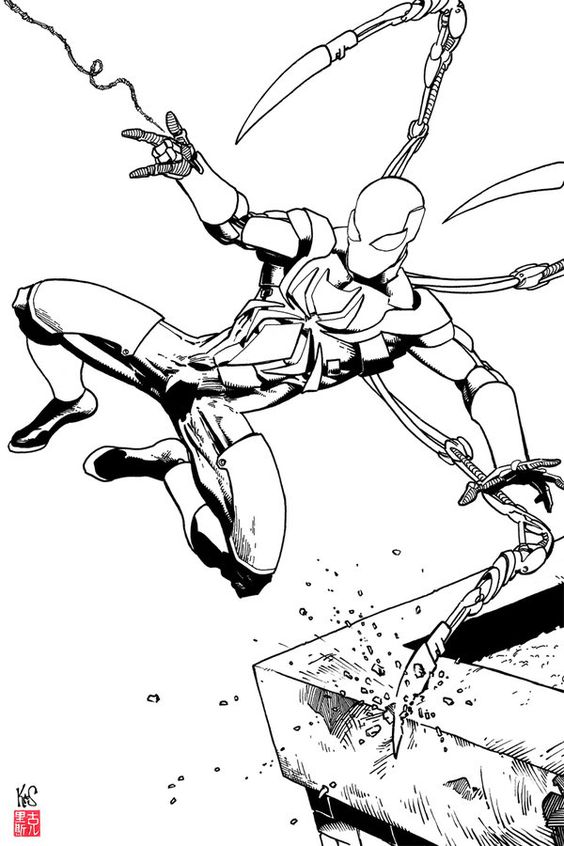 Iron spider coloring pages for Iron spiderman coloring pages