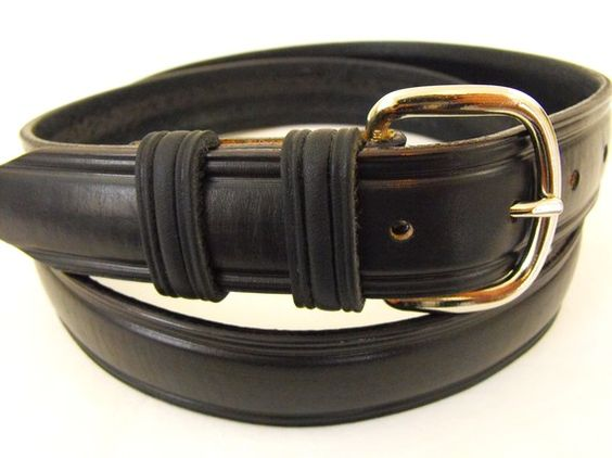 American Hand Crafted Black Leather Belt by OrionLeatherCompany