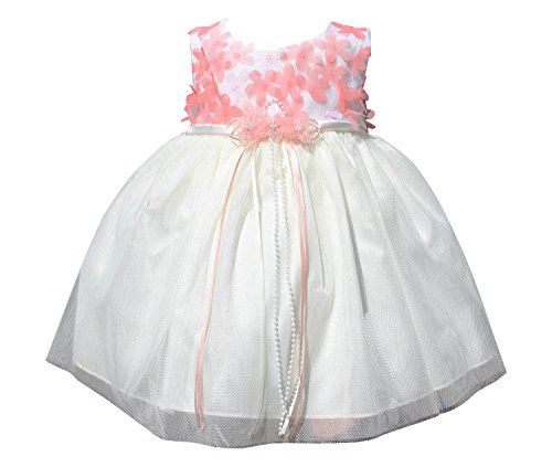 Bimaro Baby Madchen Babykleid Cecile Creme Beige Mit Koralle Blumen Tull Taufkleid Taufe Hochzeit Festliches Kleid Grosse Babykleidung Taufkleid Kleid Baby