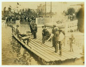 1904 Olympics: Start of One-Half-Mile, Olympic Championship swimming race.