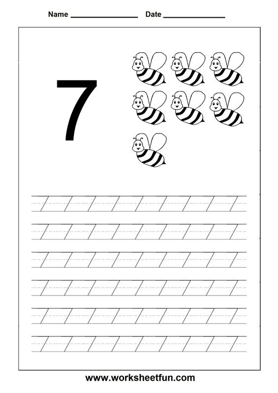Number Tracing worksheet - 7 | Fichas 3 años | Pinterest | Number ...