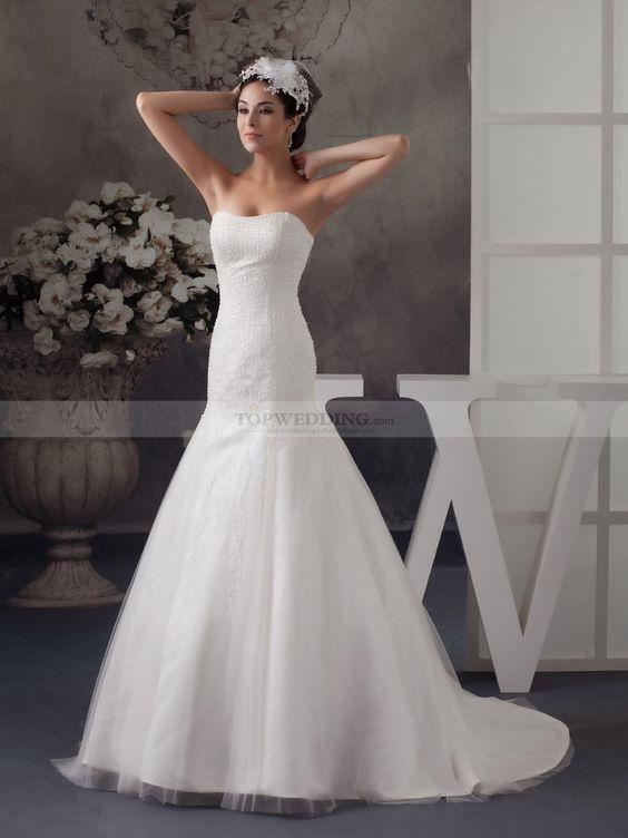 Marget - Русалка Атласная свадебном платье с Отделка бисером
