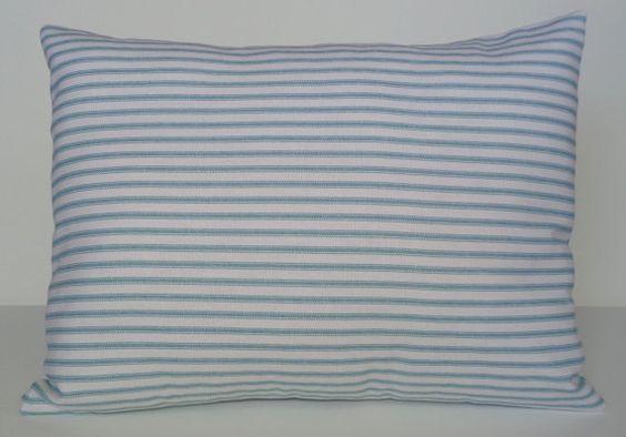 Pillow Cover Aqua Striped Aqua Pillow 12x16 by DebsCottonCottage