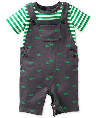 Carter s Baby Boys 2 Piece T shirt & Turtle Overalls Set