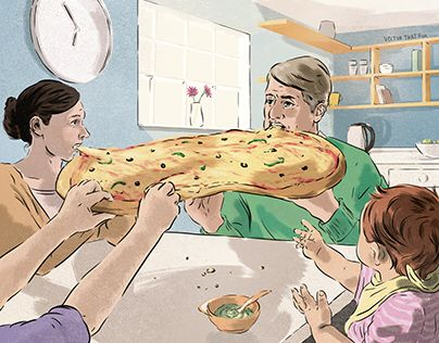 """What, no pizza wheel?"" Editorial illustration by Vector That Fox"