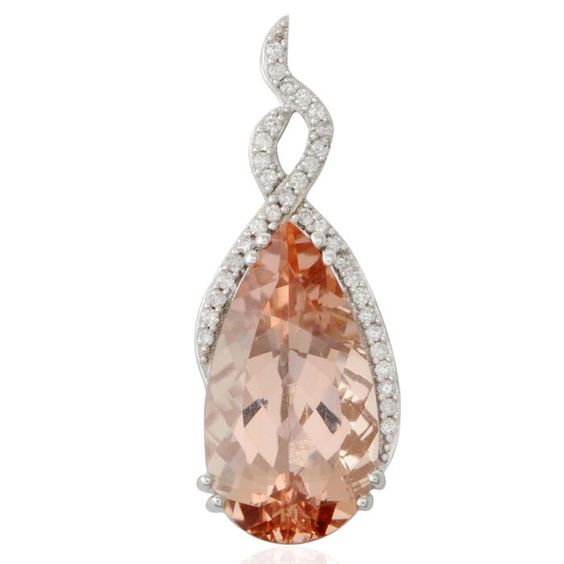 Galileia Morganite  Diamond Gold Pendant | Gemporia