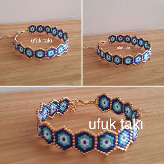 Brick stitch peyote seed bead bracelet                                                                                                                                                      More