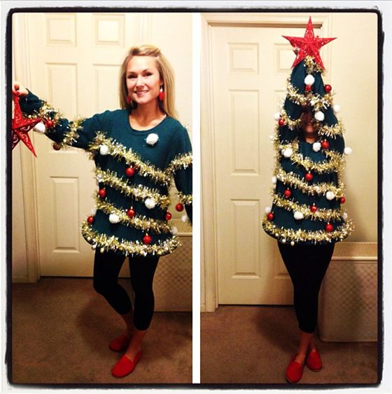 Deck yourself up just like a Christmas tree in this DIY ugly Christmas Sweater idea