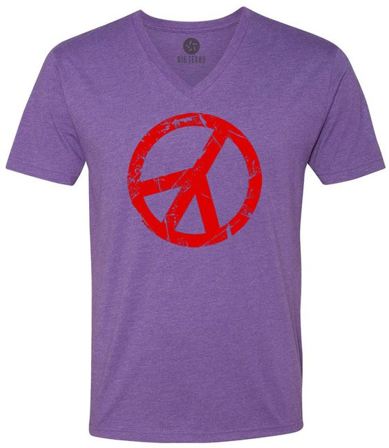 Cracked Peace Sign (Red) Short-Sleeve V-Neck T-Shirt