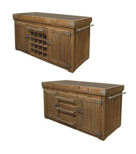 Roots Rack Kitchen Cart Pine: Distressed Pine Kitchen Island Counter Bluestone Top With