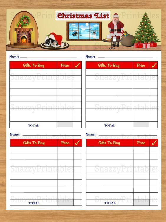 Christmas Gift List Printable Instant Download Pdf Christmas Gift List Gift List Printable Gift List