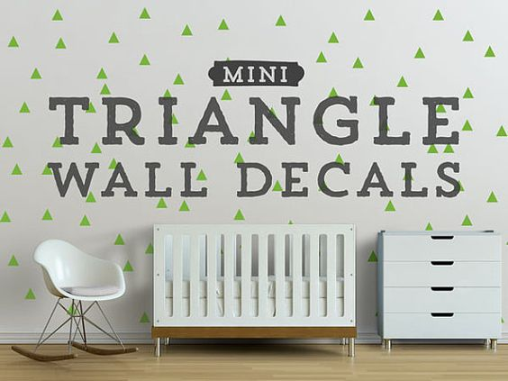 mini triangle wall decals geometric wall design customize nursery and interior walls on etsy