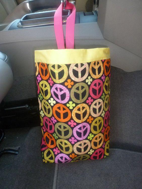 Cute car trash bag that is reversible by CreationsbyJaJa on Etsy, $12.00
