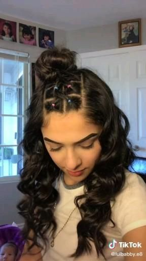 Cute Rubber Band Hairstyle Curly Hair Styles Naturally Hair Styles Hair Style Vedio