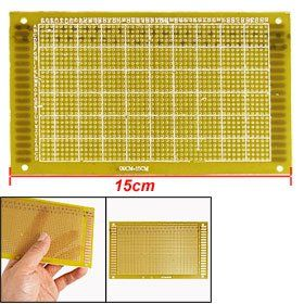 """Amico Fiber Universal Single Side Copper PCB Board 9cm x 15cm by Amico. $4.14. Hole Pitch(Approx) : 0.14cm / 0.055"""";Size(Approx) : 9 x 15cm / 3.5"""" x 5.9""""(L*W). Thickness(Approx) : 0.1cm / 0.039"""";Material : FR-4. Package Content : 1 x Universal PCB Board. Color : See the Picture;Weight : 28g. Product Name : Universal PCB Board;Hole Dia(Approx) : 0.1cm / 0.039"""". Great for building a prototype of an electronic circuit.With referencing letters printed on one side for easy ref..."""