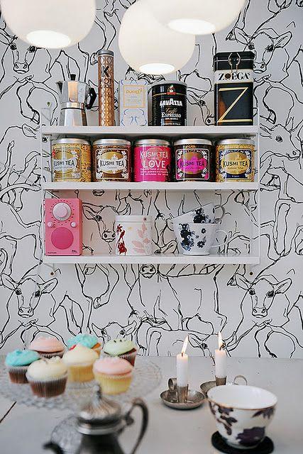 marimekko black and white bull wallpaper