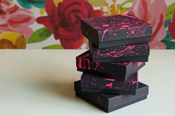 Diy Splatter Paint Favor Boxes Regalos Decoracion De Unas Diy
