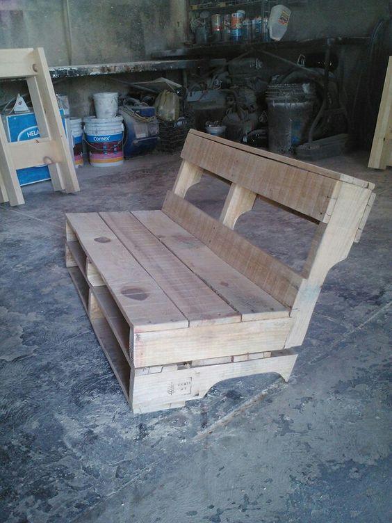 Banca de jardin para los ni os con palets muebles - Sillas hechas de palets ...