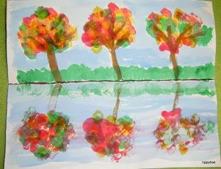 Fall Craft - Fall Reflections (regular construction paper, tempera paint, watercolor for the sky water)