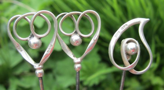 3 Silver Charles Horner Hat Pins.Hallmarked Chester.Art Nouveau.One Hinged.
