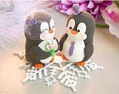 Custom Penguin wedding cake toppers - bride and groom personalized elegant love bird. $99.00, via Etsy.