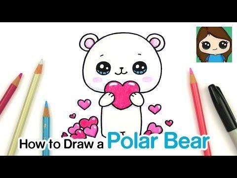 How To Draw A Polar Bear Holding A Heart Youtube Polar Bear Drawing Cute Little Drawings Cute Drawings