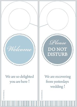 Print out these DIY wedding door hangers for your out-of-town - wedding door hanger template